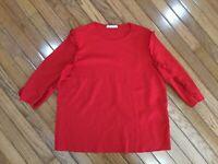 Zara Trafaluc Women's Red Ruffle 3/4 Sleeves Top Blouse Shirt Size L
