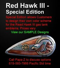 Indian, Drifter, Harley Gas Tank Emblems Red Hawk III SE Zambini Bros MFA