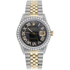 Rolex Datejust 16013 Diamond часы 18K золото/стальной 36 мм метеорит циферблат 5.40 кар