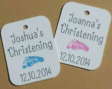 40 Christening Baby Shower favour gift or thank you tags,boys girls. footprint