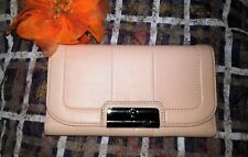 Coach Trifold Baby  Pink Large Silver Tone Front Buckle Wallet