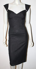 TRACY REESE Black Shimmer Sleeveless Dress S 0 2 4 Rhinestone Trim