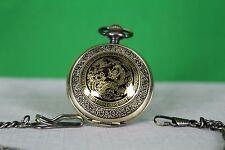 Retro Elegant Bronze Dragon Alloy Quartz Men/Women Pocket Watch Time piece Chain