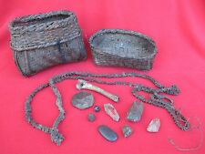 Old Magnificent Himalayan Shaman's Basket With Crystals, Stones & Bones