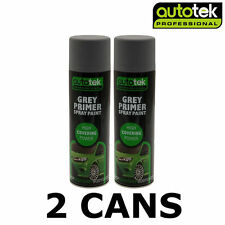 2x AUTOTEK Professional Grey Primer 500ml Spray Paint High Coverage
