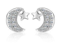 Classic Sterling Silver Cubic Zirconia Moon Star Stud Earrings Gift Box PE15