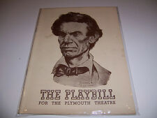 1939 PLYMOUTH THEATRE PLAYBILL - ABE LINCOLN IN ILLINOIS - RAYMOND MASSEY