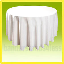 "120"" Inch Round Table Cover Tablecloth Wedding Banquet Event - WHITE"