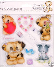 Clear Docrafts stamp set of 12 Daisy & Dandelion Valentine swalk love hearts etc