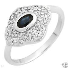.55 ctw Sapphire & Diamond Ring 14K white gold Sz 7.75