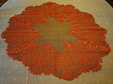 HERITAGE LACE ORANGE AND BLACK HALLOWEEN SPIDER/SKULL/PUMPKIN TOPPER/CLOTH #A37