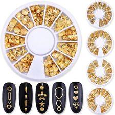 Gold Rhinestones Rivet Studs Flower Star Hollow 3D Nail Art Decoration In Wheel