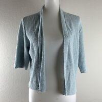 Eileen Fisher Womens Blue Silk Linen Blend Open Cardigan Sweater Size Medium
