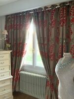 "LAURA ASHLEY CURTAINS cut PILE VELVET ""BELGRAVIA"" contemporary LEAVES interlined"