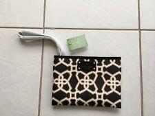 Kaye Spade Moroccan Market Imani Black Taupe Patent Wrist Purse Wallet NWT