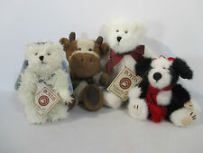 Boyds Bears Cow Angel Dog Plush Miniature Vintage Retired Jointed Set of 4