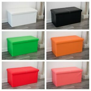 TOY STORAGE OTTOMAN KID TOY BOOK PLAY BOX BEDROOM STOOL FOLDING CHEST SEAT LARGE