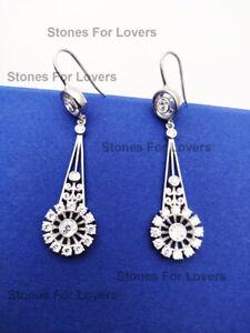 1.75 Ct Round Diamond Vintage Art Deco Drop Dangle Earrings 14K White GoldFinish