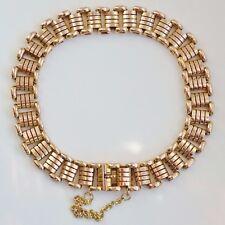 Stunning Antique Victorian 15ct Gold Concealed Clasp Roller Link Bracelet c1885