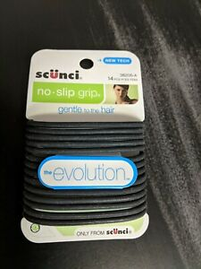 NEW Scunci No-Slip Grip The Evolution Hair Ties, Black, 14  Count