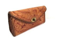 Clutch Vintage Leather Hand bag Tooled Boho Chic Hippie, Purse Western Turn Lock