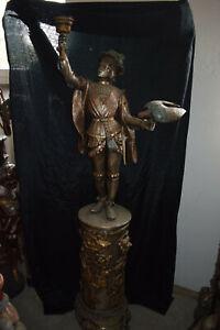 S.gr.Bronze-Falkner m.Falke auf Löwenkopfsäule versilb/koloriert  ca110kg 184cm