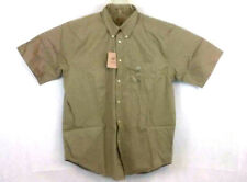 Lord and Taylor Mens Shirt Large Button Down Khaki Casual Classics Short Sleeves