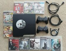 Sony PS3 Play Station 3 CECH-2001A Cords+ 2 Controllers+14 Games WORKING BUNDLE