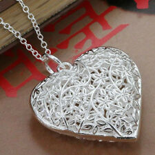 *UK* 925 SILVER PLT HOLLOW FLOWER FILIGREE LOVE HEART PENDANT NECKLACE LADIES