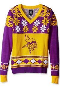 NFL Minnesota Vikings Womens Christmas Party Ugly V Neck Sweater Size Medium