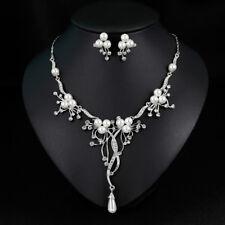 Fashion Rhinestone Faux Pearl Necklace Earrings Women Wedding Jewelry Set Little