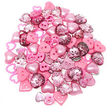 100 Mix Pink Resin Heart Flatback Craft Cardmaking Embellishment