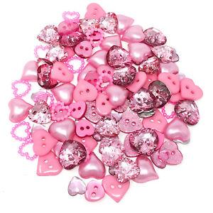 100 Mix Pink Resin Heart Flatback Craft Cardmaking Embellishment