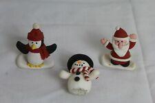 Festive cake topper decorations, Santa, snowman and penguin