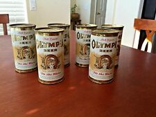 RARE OLYMPIA BEER FLAT TOP BEER CANS 6 PACK W/ MATCHING NUMBERS 11 oz.