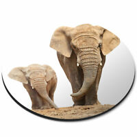 Round Mouse Mat - Mother & Baby Elephant Cute Office Gift #2321