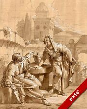 JESUS CHRIST & SAMARIAN WOMAN AT THE WELL PAINTING BIBLE ART REAL CANVAS PRINT