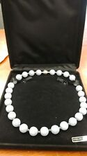 """Sterling Silver Blue Lace Agate 12 MM Milor Italy Necklace 17.5"""" / 83 Grams"""