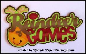 CHRISTMAS REINDEER GAMES  title premade scrapbook paper piecing by Rhonda