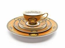 Royalty Porcelain Luxury 5-pc YELLOW Dinner Set for 1 person, Medusa Greek Key