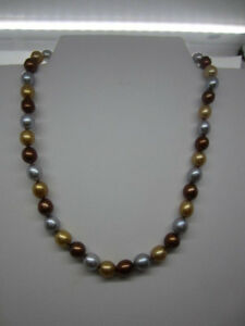 """HONORA Genuine 8.5-9.0mm Oval Dyed Copper Gold & Silver Pearl 18"""" Necklace"""