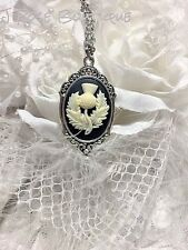 GOLD XMAS Scottish Thistle Necklace Pendant Cameo Royal Flower King Queen Silver