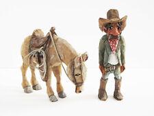 Original Jes Gurule Carved Sculptures Cowboy Horse Fun Santa Fe Folk Art Western