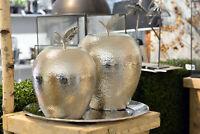 Apfel  Deko Aluminium Metall silber li im Bild Shabby Brocante