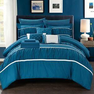 Stieg 10 Piece Comforter Bed in a Bag Sheet Set Decorative Pillows Shams Teal