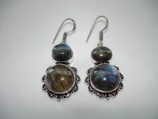 "AB One-of-a-Kind Blue-Fire Labradorite Black Moonstone Silver Earrings 2"""