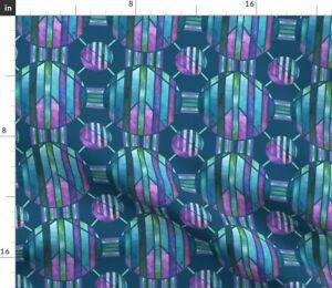 Blue Stars Purple Circles Turquoise Geometric Spoonflower Fabric by the Yard