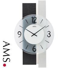 Ams 9555 Horloge murale Quartz Analogue Argent moderne avec Ardoise et Verre