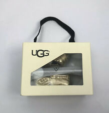 Ugg I SIVIA METALLIC GOLD Baby Boys or Girls Loafers Shoes Age 0-6 Months BNWB