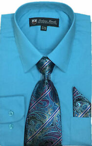 New Men's Dress Shirt w/ Matching Tie and Handkerchief Set  SG-21B